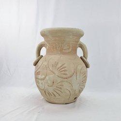 Amfora ceramiczna antyczna, rzymska rzeźbiona do ogrodu lub na taras. Duży wazon ceramiczny. Waza grecka surowa, nieszkliwiona.